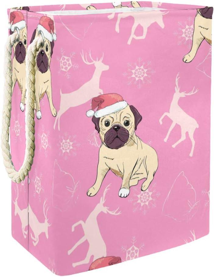 Unicey Christmas Bulldog Large Storage Bin Foldable Laundry Hamper for Nursery Hamper and Kids Room