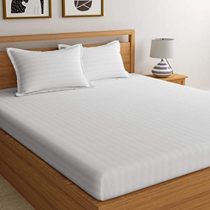 Superb Satin Bedsheets For Double Bed, High Thread Count Bedsheet, Dreamscape 600  TC White Premium