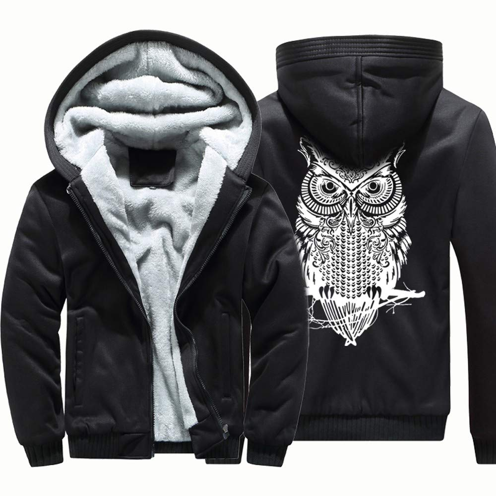 Kaniem Hooded Jacket,Mens Causal Owl Back Print Flannel Lined Zipper Hooded Sweatshirt Coat (4XL, Black)