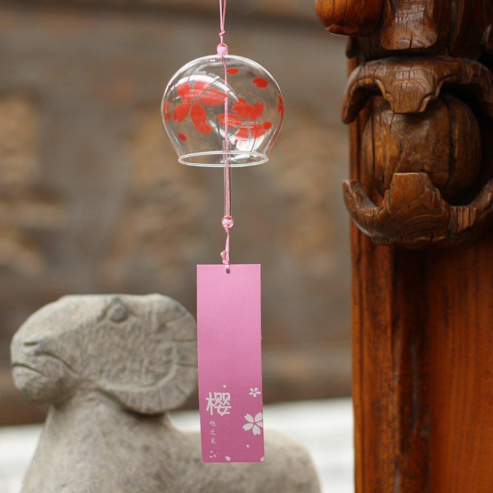 Rouge Japonais Carillon vent cloches en verre fait main cadeau danniversaire cadeau Saint Valentin Home universitaire de cuisine UN Spa un jardin universitaire fen/être universitaire Sakura
