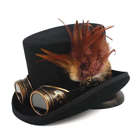 Steampunk Top Hat 4 Size Wool Women Men Top Fedora Hat Tea Party Hat (Color dac5f2ce9bc6