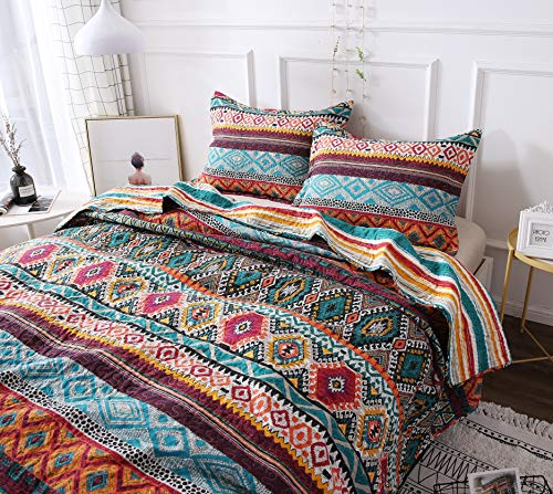 DaDa Bedding Southwestern Aztec Bedspread – Bohemian Desert Tribal Quilted Set – Bright Vibrant Multi Colorful Diamond – Queen – 3-Pieces