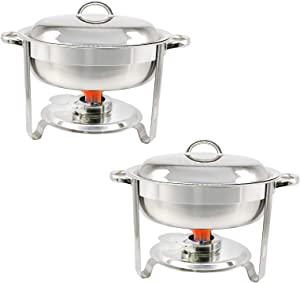 2 Pcs Round Stainless Steel Chafing Dish with Water Pan Buffet Chafer with Lid Food Warmer Buffet Server for Parties Restaurants Catering Supplies