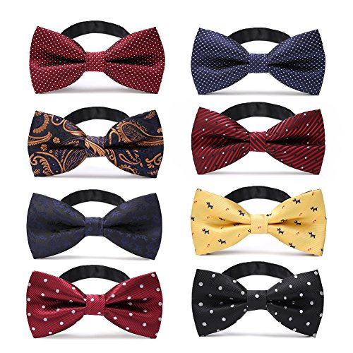 JIMUKEE Mens Pre-tied Tuxedo Bow Ties With Adjustable Neck Strap Bowtie Value Set A