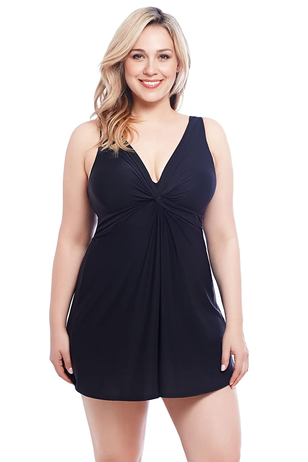 Miraclesuit Women's Plus Size Marais One Piece Swimdress Swimsuit