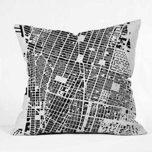 Nyc Throw Pillow (Deny Designs CityFabric Inc NYC White Throw Pillow, 26 x 26)