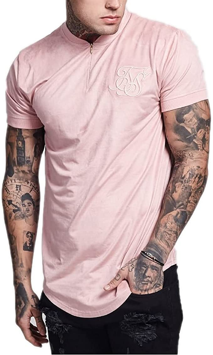 Camisa Manga Corta Siksilk – Suede Curved Hem Zip Rosa ...