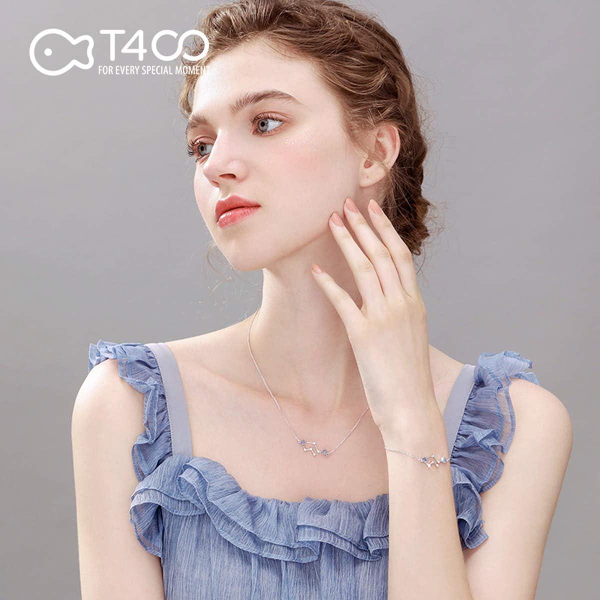 T400 925 Sterling Silver Horoscope Zodiac Sign 12 Constellation Moonstone Link Bracelet Birthday Gift for Women Girls