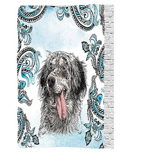 VROSELV Custom Blanket Animal English Setter Cute Young Funny Pet Ethnic Tribal Bohemian Hippie Indian Yoga Mandala Art Prints Dogs Bedroom Dorm Blue Gray White Black (English Setter Tapestry)
