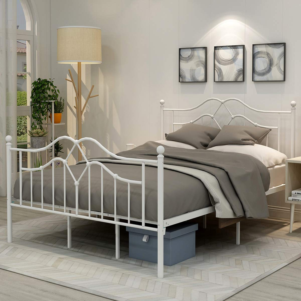 Metal Bed Frame Queen Size Platform No Box Spring Needed