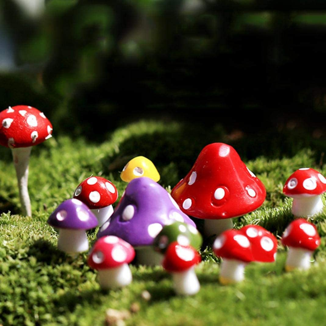 Mixed Color M whatBYDs Miniature Garden Ornaments,Fairy Garden Figurines,Miniature Mushroom Micro Landscape Bonsai Succulent Plants Mini Garden DIY Decor for Garden Dollhouse Xmas Decoration