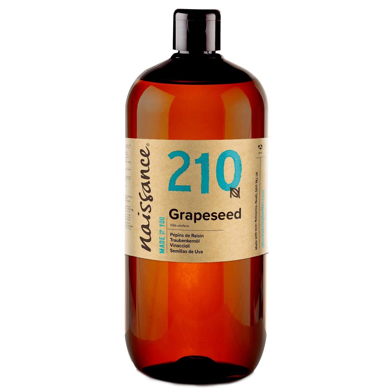 Naissance Aceite Vegetal de Semillas de Uva n. º 210 – 1 Litro - Natural, vegano y no OGM - Hidratante natural para el cabello y la piel.