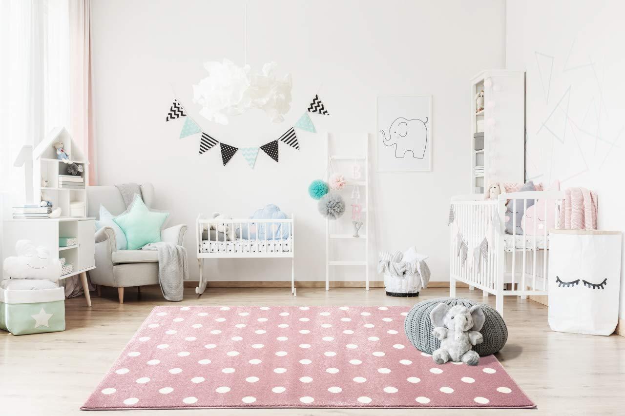 Livone Kinderzimmer Baby Kinderteppich Punkte Kreise in rosa Weiss Gr/ö/ße 100 x 150 cm