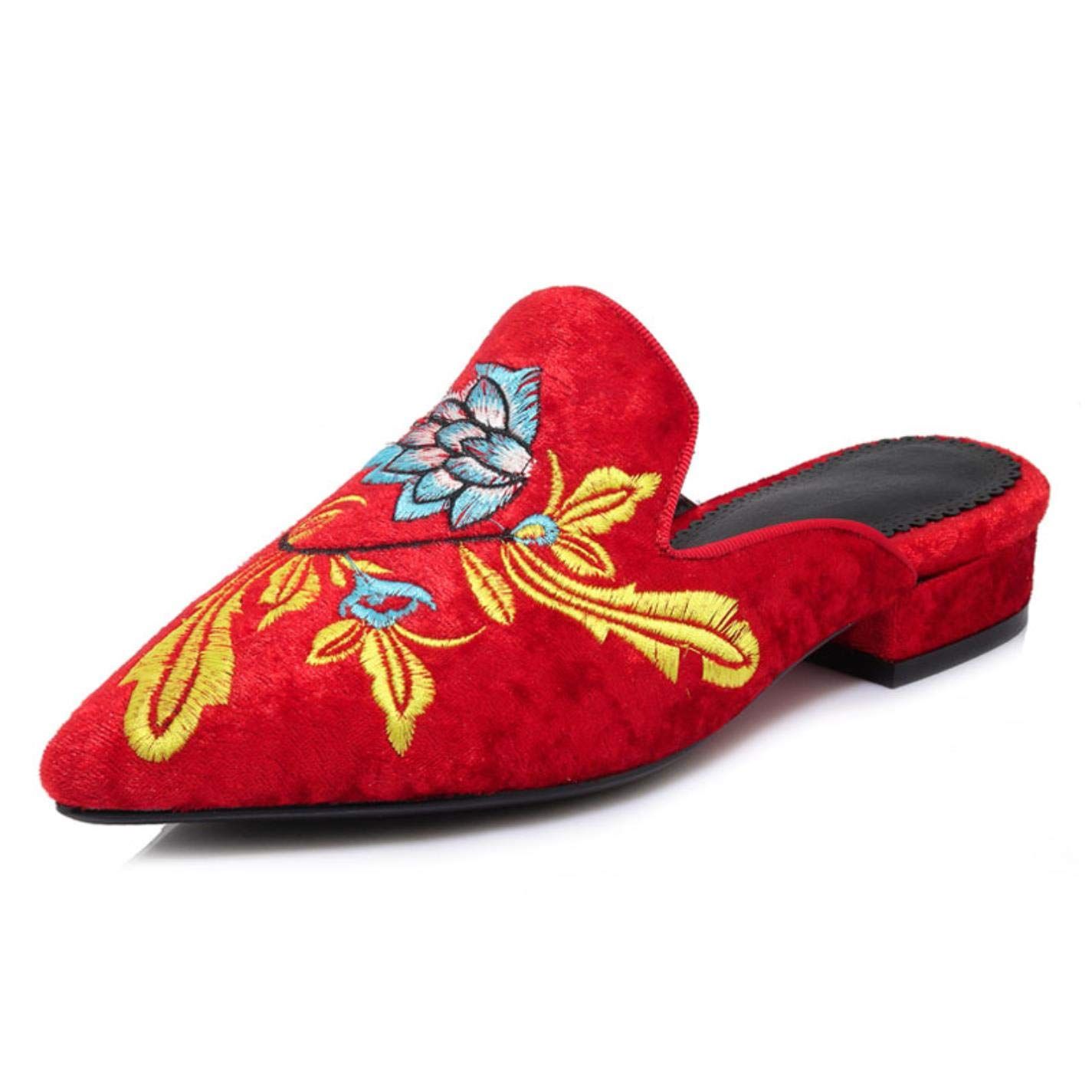 Women Retro Embroider Red Pointed Toe Sexy Party Wedding Flat Shoes