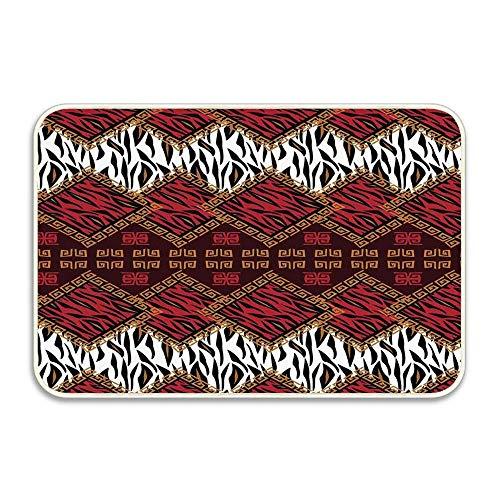 Indoor Wiper Mat Scraper (Huayuanhurug African Style Wild Animal Skin Stylized Indoor/Outdoor Wiper/Scraper Mat, Funny Door Mat for Home Decor Kitchen Garden Inside Outside 16x24 Inches)