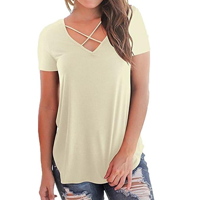 SOMESUN Damen T-Shirt V-Ausschnitt mit Schnürung Vorne Oberteil Tops  Kurzarm Bluse Patchwork b7c0bfc3b2