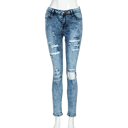 Shybuy Womens Juniors Fashion Ripped Jeans Slim Fit Mid Waist Skinny  Distressed Ankle Length Denim Jeans d4e0ee81b7
