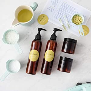 DIY Luxe Lemon Sugar Moisturizing Lotion Making Kit, Makes 4 Skin Glowing Lotions with EVERYTHING You Need