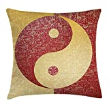 Ying Yang Throw Pillow Cushion Cover, Chinese Letters Antique Asian Culture Design Eastern Religion Spiritual Occult, Decorative Square Accent Pillow Case, 18 X 18 inches, Red Yellow