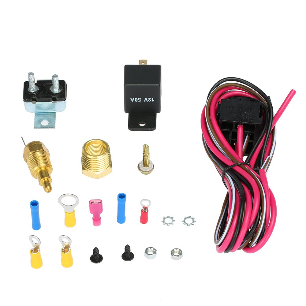 Walmeck Electric Cooling Fan Wiring Install Kit 185/170 Degree Thermostat