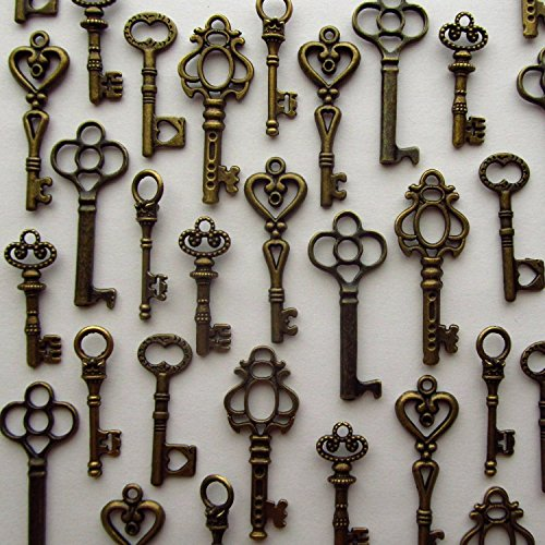48PCS Antique Mini Collection Skeleton Keys, Vintage Steam Punk Keys, Castle Dungeon Pirate Keys for Birthday Party Favors, Mini Treasure Toy Gifts (Bronze)