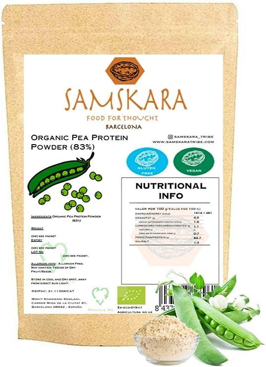 Proteina de Guisante (83%) en Polvo de Agricultura Ecológica SAMSKARA Organic agriculture Pea Protein Powder (83%) (1kg)
