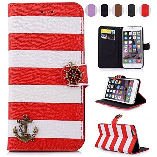 iPhone 6S/6 Plus Case,Dteck(TM) Colorful Stripes Anchor Rudder Premium Leather Case Flip Stand Magnetic Flap Closure Cover [with Card Slots] for Apple iPhone 6S/6 Plus 5.5 inches (1 Red)