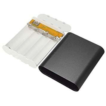 Magiyard 5V 1A USB 4X 18650 Power Bank Case Kit Cargador de batería DIY Box para teléfono inteligente (1, Negro)