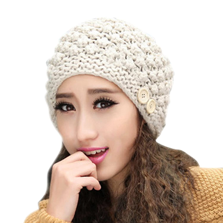 Smarstar Bonnet épais tricoté à pompon pour Femme Béret Femme Chapeau Fille  Hiver Chaud Tricotage Crochet Bonnet,Beige Amazon.fr Vêtements et  accessoires