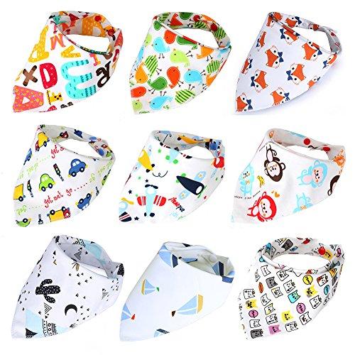 AnHong Baby Bandana Drool Bibs 9-Pack Gift Set Cute Floral Organic Cotton Baby Bibs for Boys, Girls (Baby boy)