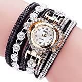Analog Watch for Boys,Women Vintage Rhinestone Crystal Bracelet Dial Analog Quartz Wrist Watch,Women's Wrist Watches,Black,Women Watches