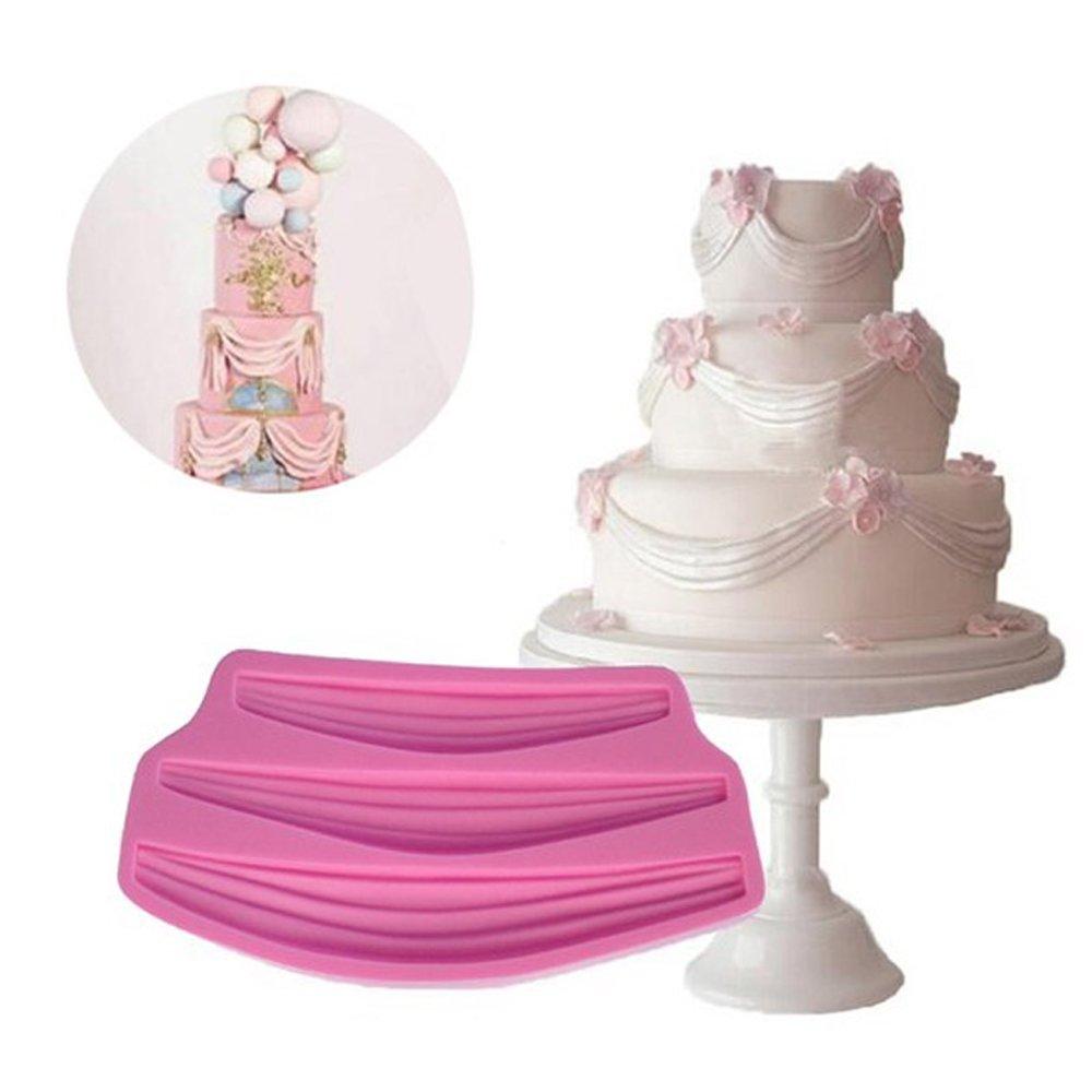 WYD Lace Fondant Mermaid Silicone Mold,Three Retro Satin Ribbon Around the Edge of the Curtain Cake Tool,Cake Mold Decorating,Fondant Baking Mold