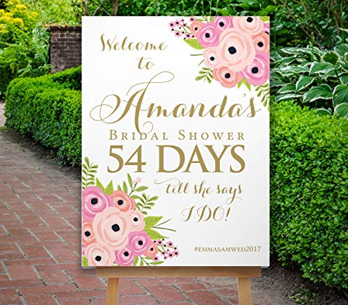 Dozili Bridal Shower Countdown Sign Bridal Shower Sign Reception Sign Boho Blush Pink Flowers Navy Sign The St Helena Collection ()