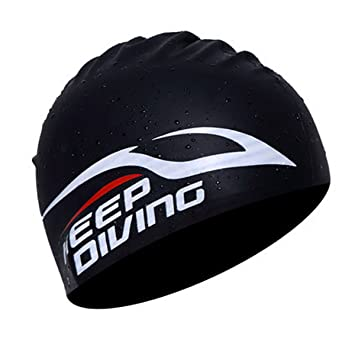 98c72bf4bdb5 Swim Cap Unisex Soft Waterproof Silicone Training Racing Swimming Cap  Summer Pool Sea Ear Protective Cap Durable Bathing Haircare Hat for Long  Hair - for ...