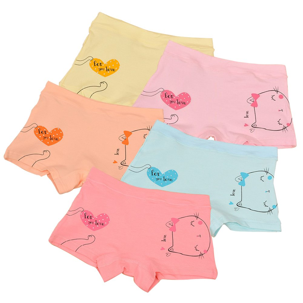BOOPH Girls Underwear, Cute Bow Cat Baby Toddler Panties 5 Pack Briefs Boyshort for Girl 2-3 Year Old