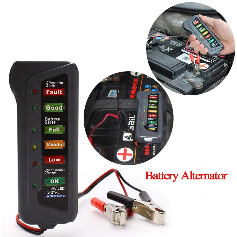 Clothful  12V Car Digital Battery Alternator Tester 6 LED Lights Display Diagnostic Tool