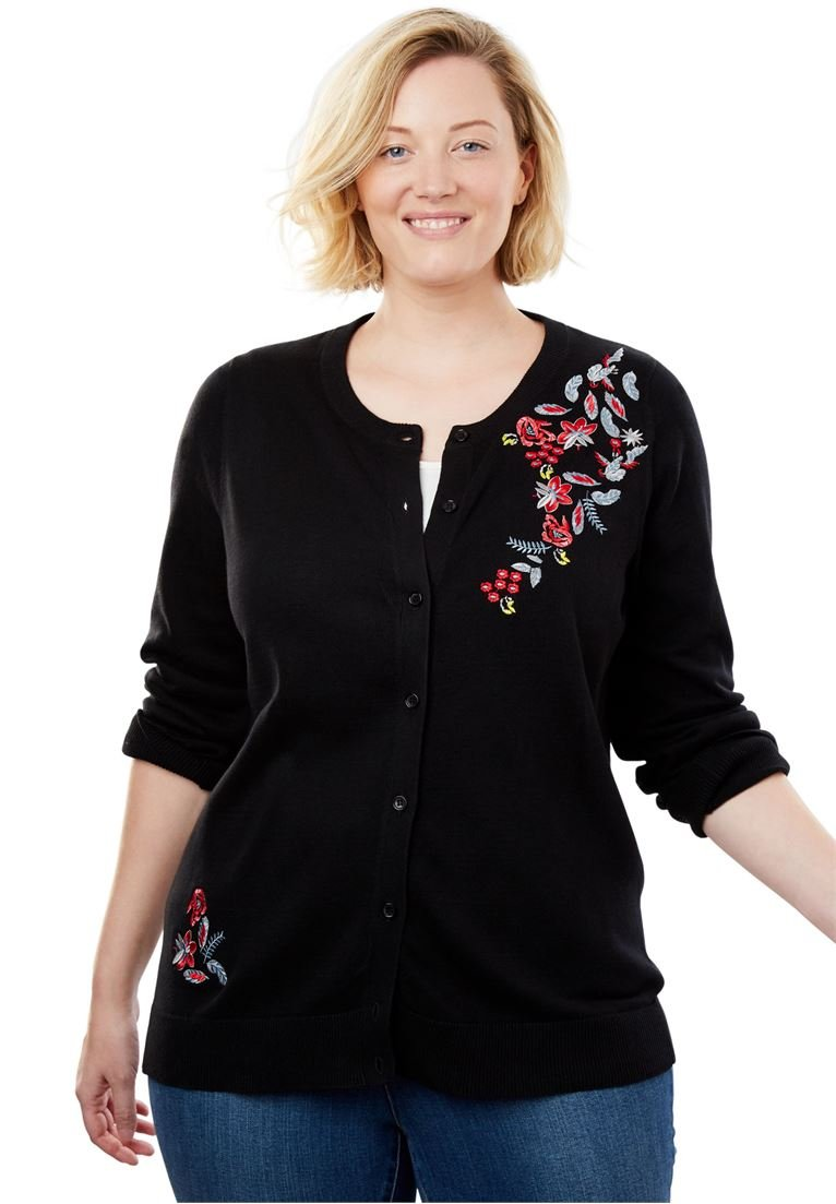 Woman Within Women's Plus Size Perfect Long Sleeve Cardigan
