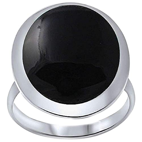 Blue Apple Co. Cocktail Solitaire Ring Oval Simulated Black Onyx Solid 925 Sterling Silver