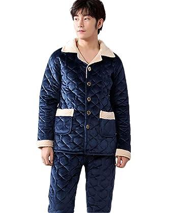 PFSYR Pijamas de hombre, pijamas gruesos de invierno, conjunto de tres capas acolchadas,