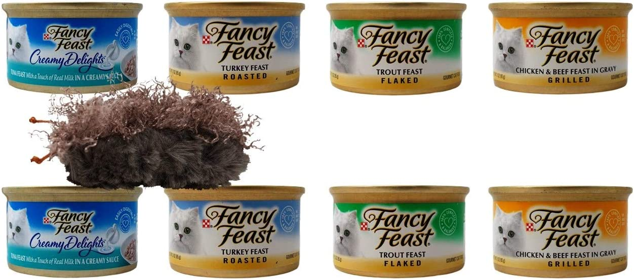 Fancy Feast Adult Cat Food 4 Flavor 8 Can Variety with Catnip Toy Bundle, 2 Each Creamy Tuna Sauce, Roasted Turkey, Flaked Trout, Grilled Chicken Beef Gravy 3 Ounces