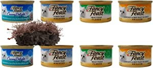 Fancy Feast Adult Cat Food 4 Flavor 8 Can Variety with Catnip Toy Bundle, (2) Each: Creamy Tuna Sauce, Roasted Turkey, Flaked Trout, Grilled Chicken Beef Gravy (3 Ounces)