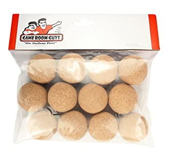 Game Room Guys Set of 12 Official Natural Cork Foosballs for Tornado, Dynamo or Shelti Tables