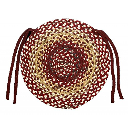 IHF Home Decor Set of 4 Round Chair Cover 15'' Braided Rug Checkerberry Design New