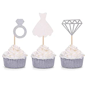 Set of 24 Glitter Diamond Ring Wedding Dress Cupcake Toppers for Engagement Bridal Shower Decorations (Silver)