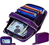TraderPlus Women's RFID Blocking Leather Zipper Card Wallet Small Purse Credit Card Case Holder for Christmas Gift (Purple)