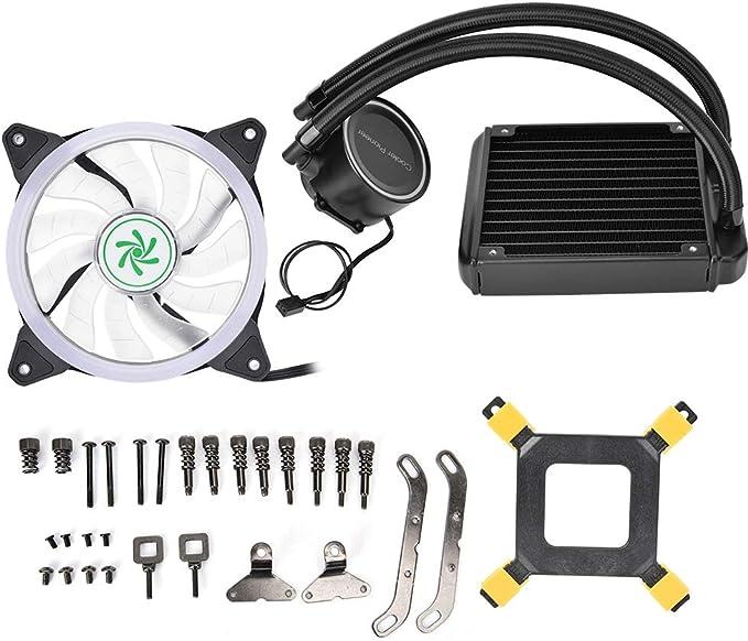 Topiky Sistema de refrigeración por Agua PC Kit para CPU 120MM, radiador de Aluminio Drenaje de Agua CPU Ultra silencioso Ventilador Enfriador de Bomba Bomba Bloque de Tanque Enfriador Disipación: Amazon.es: Electrónica
