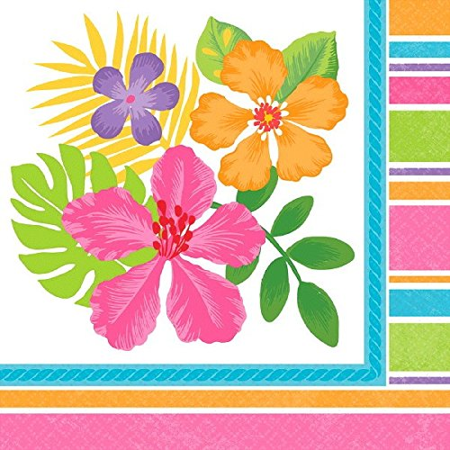 "Sun-Sational Summer Luau Party Sophisticated Hibiscus Beverage Napkins Tableware, Paper, 5"" x 5"", Pack of 36"