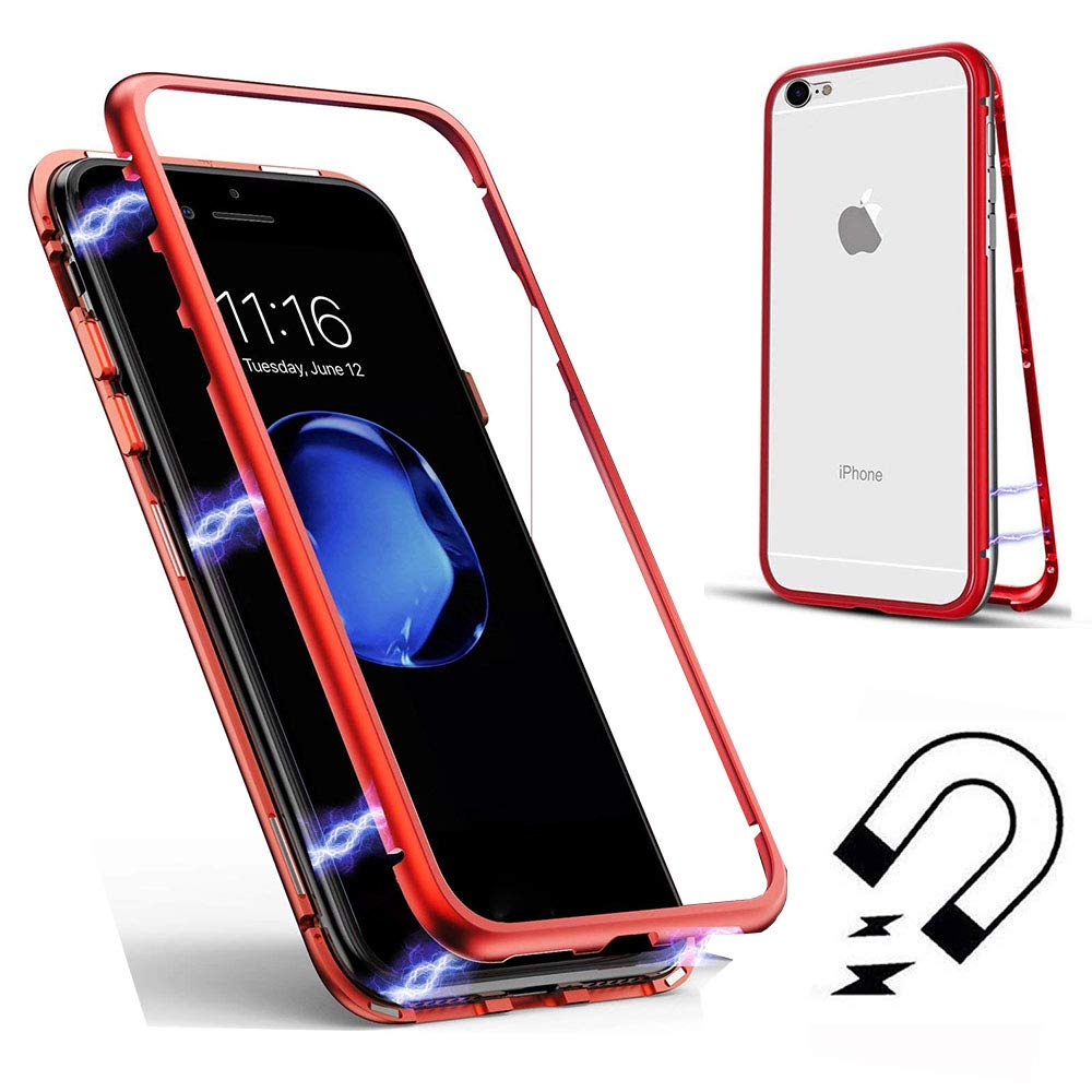 Case for iPhone SE, Cover for iPhone 5 5S, SevenPanda Magnetic Absorption Metal Frame Tempered Glass Back with Magnetic Cover Full Body Slim Fit Ultra Thin Lightweight Case - Transparent + Black IP5-WanCiWang-TouHei