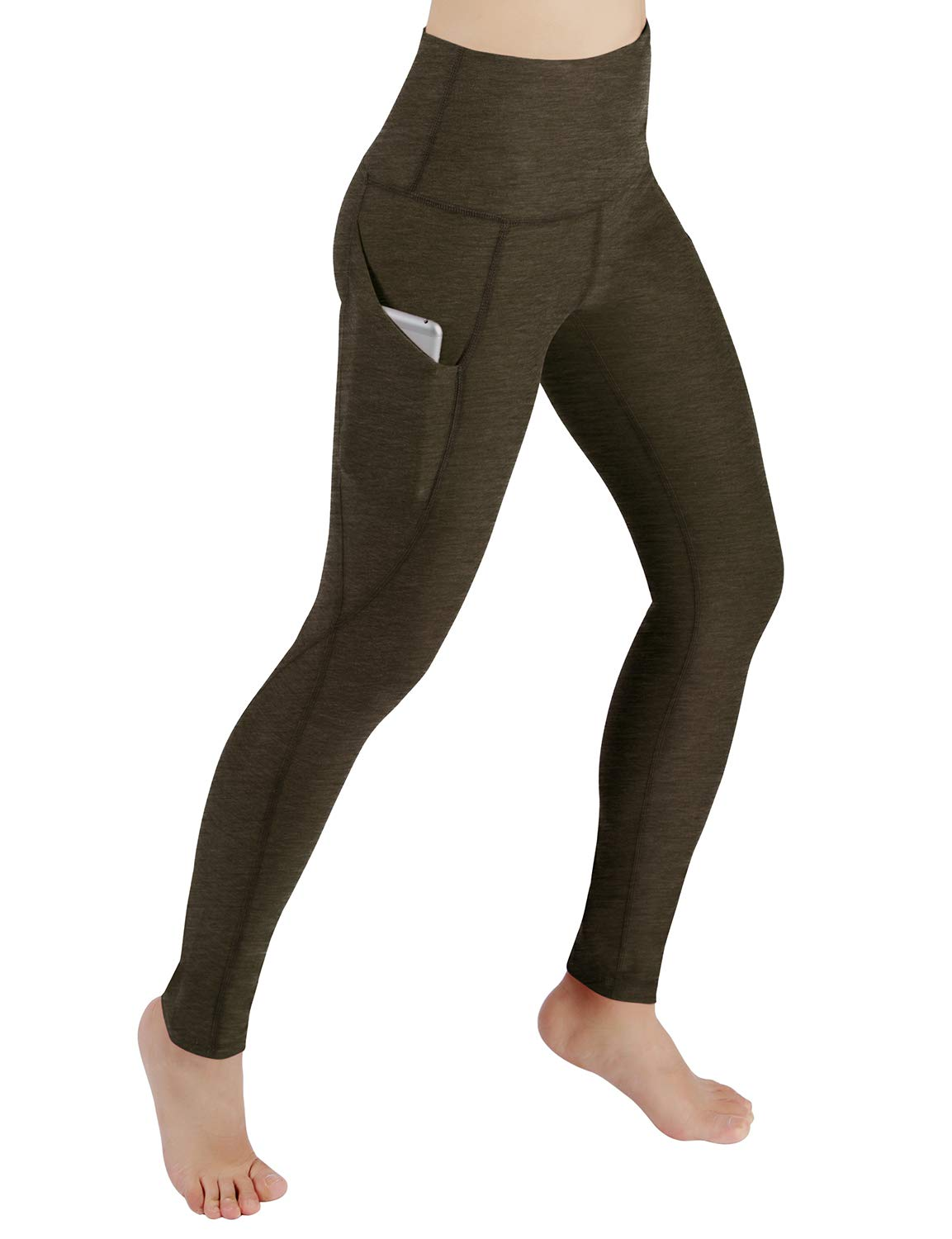 ODODOS High Waist Out Pocket Yoga Pants Tummy Control Workout Running 4 Way Stretch Yoga Leggings,Olive,X-Small