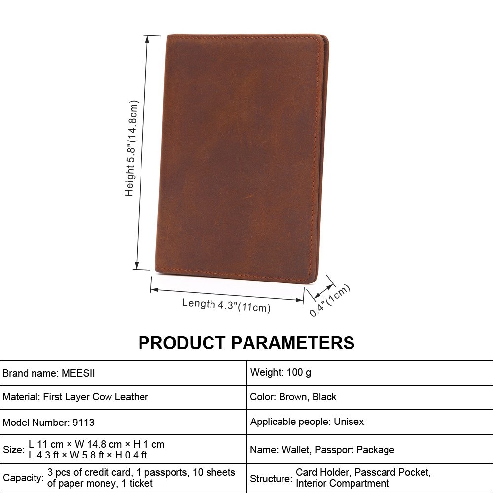 Shengjuanfeng Mens Wallet Simple Retro Leather First Layer Leather Folder Color : Brown, Size : S
